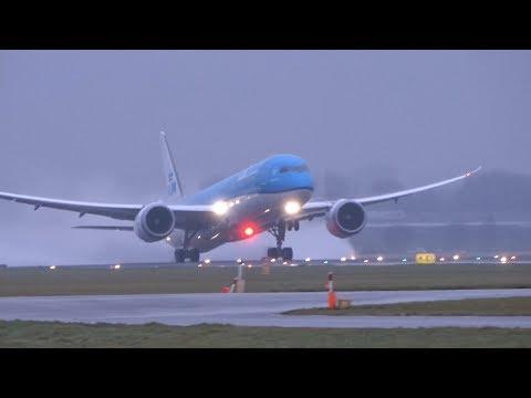 Big Planes Take off in Heavy Winds B747, B787, A330, B777