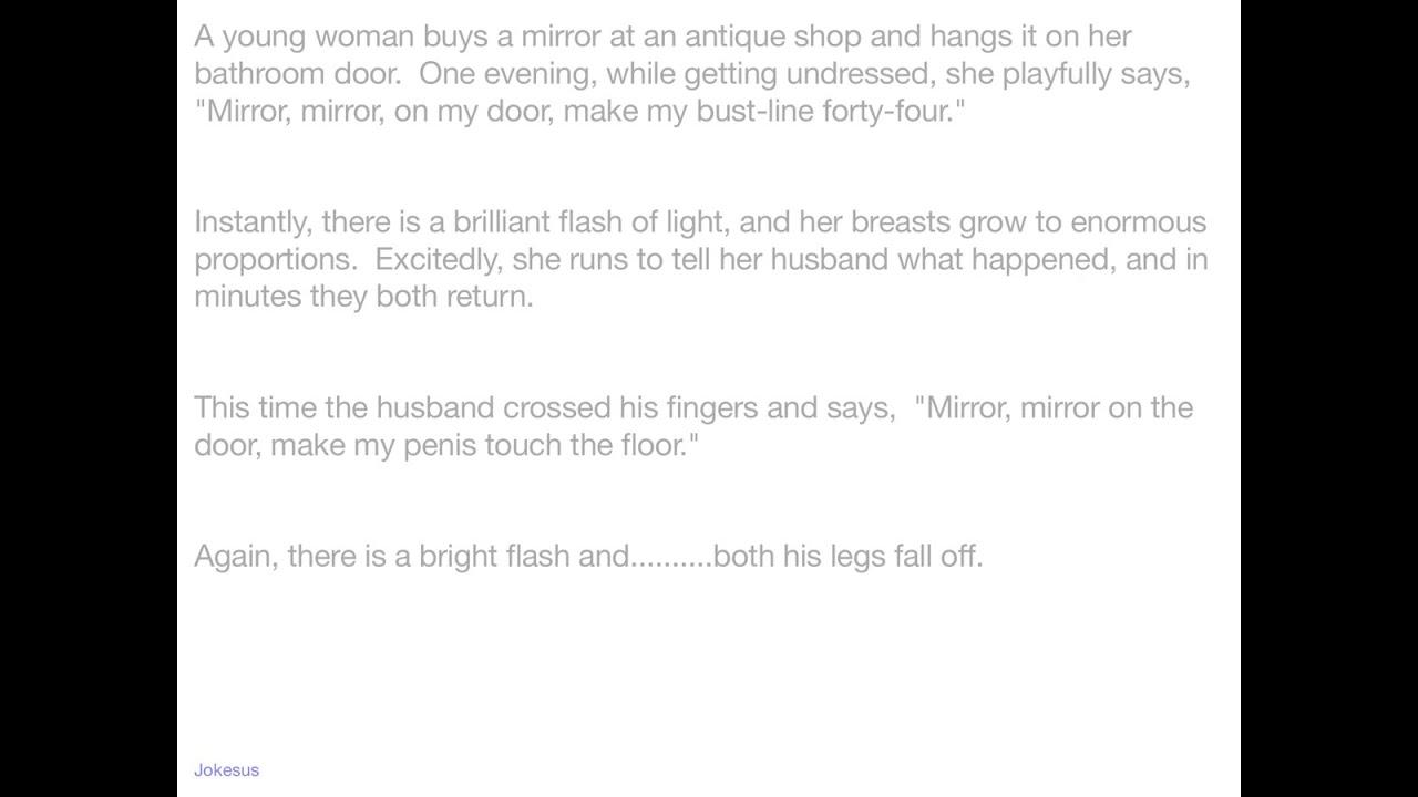 Bathroom Mirror Jokes jokes - a young woman buys a mirror at an antique shop and hangs
