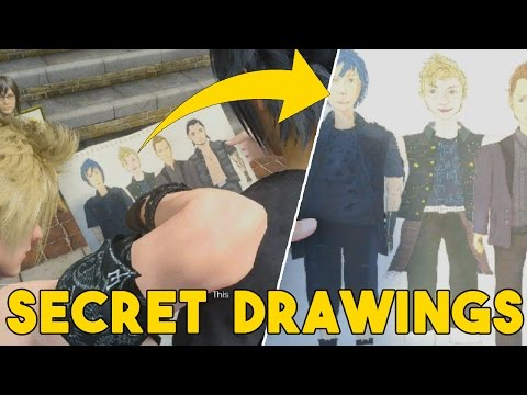 """Final Fantasy XV How To Get Secret Potrait (All """"Bad"""" Drawings + Artist  Locations)"""