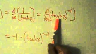 calculus i derivative of hyperbolic cotangent function coth x proof
