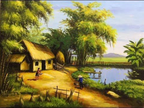 kỹ thuật vẽ tranh phong cảnh đồng quê sơn dầu / acrylic
