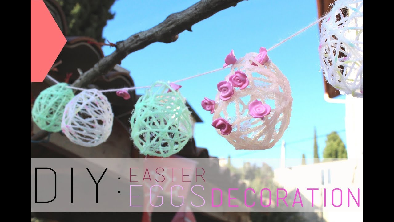 Diy p ques oeufs en fil de laine easter eggs decoration english subs youtube Oeufs paques decores aquarelle idees