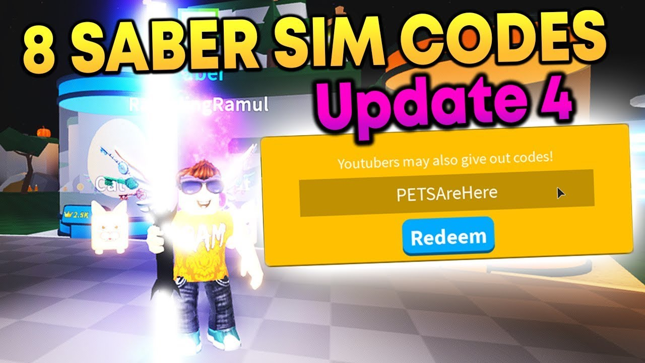 New Pets Update Codes In Roblox Saber Simulator Youtube