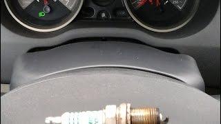 замена свечей на Renault Megane II. Симптом - рывки при разгоне