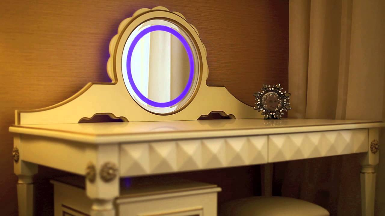 Dressing table with mirror and lighting