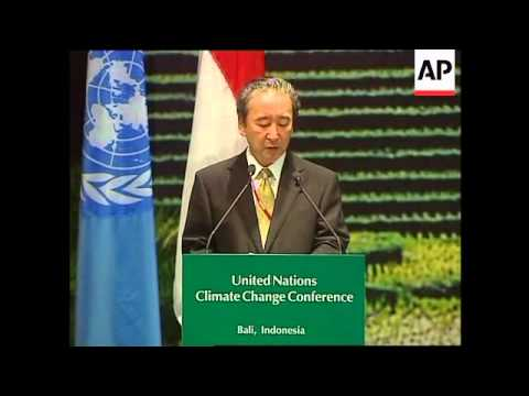 Japanese environment minister speaking at Bali climate conference