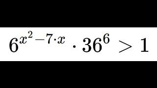 Решите показательное неравенство: 6^(x^2 -7x)*36^6 больше 1