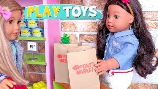 Play American Girl Dolls Grocery Shopping Toys! 🎀