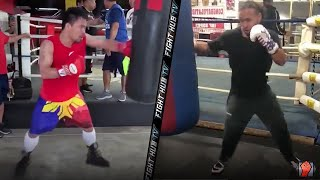 HEAVY BAG COMPARISON - MANNY PACQUIAO & KEITH THURMAN TRAINING FOR FIGHT; LANDING COMBOS IN WORKOUT