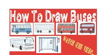 How To Draw Bus| How To Draw Bus Stop| How To Draw Bus Easily