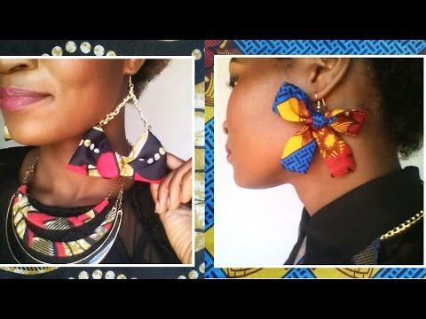 How to make 2 types of Bow earrings (African print DIY)
