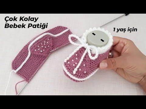 İki Şişle Çok Kolay Bebek Patiği Yapılışı 🎀 Easy Knitting Baby Booties Slippers Tutorial Pattern