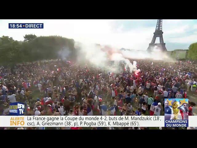 La France championne du monde ! La fête sur le Champs de Mars et sur les Champs Elysées
