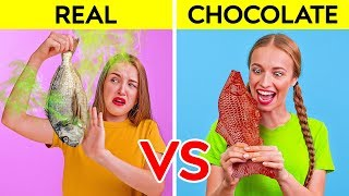 REAL FOOD VS CHOCOLATE FOOD CHALLENGE || Funny Prank Wars by 123 GO! Challenge