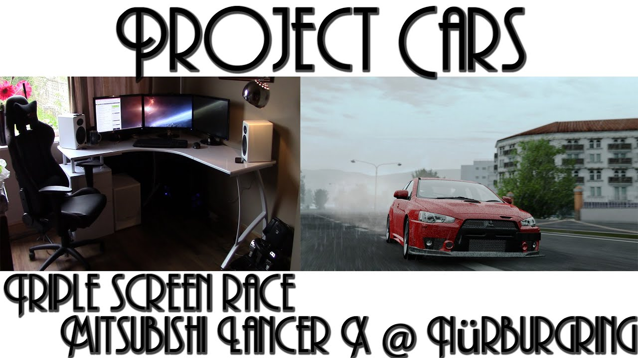 project cars triple screen race mitsubishi evo x. Black Bedroom Furniture Sets. Home Design Ideas