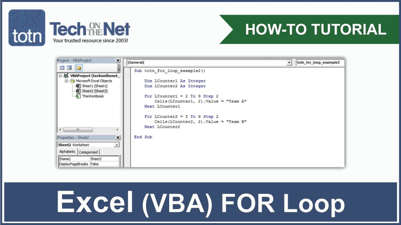 MS Excel How to use the FOR...NEXT Statement VBA