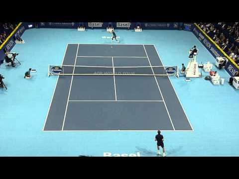 Roger Federer Forehand smash at the net Basel Tennis 2013