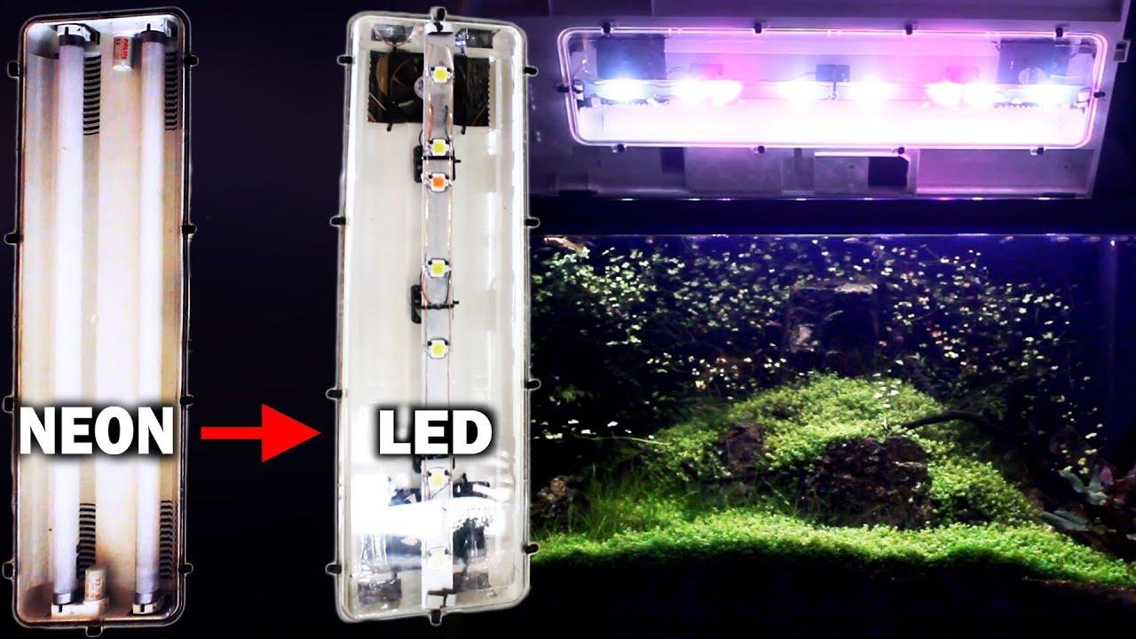 Plafoniere Neon Da Garage : Trasformazione da neon a led · plafoniera acquario youtube