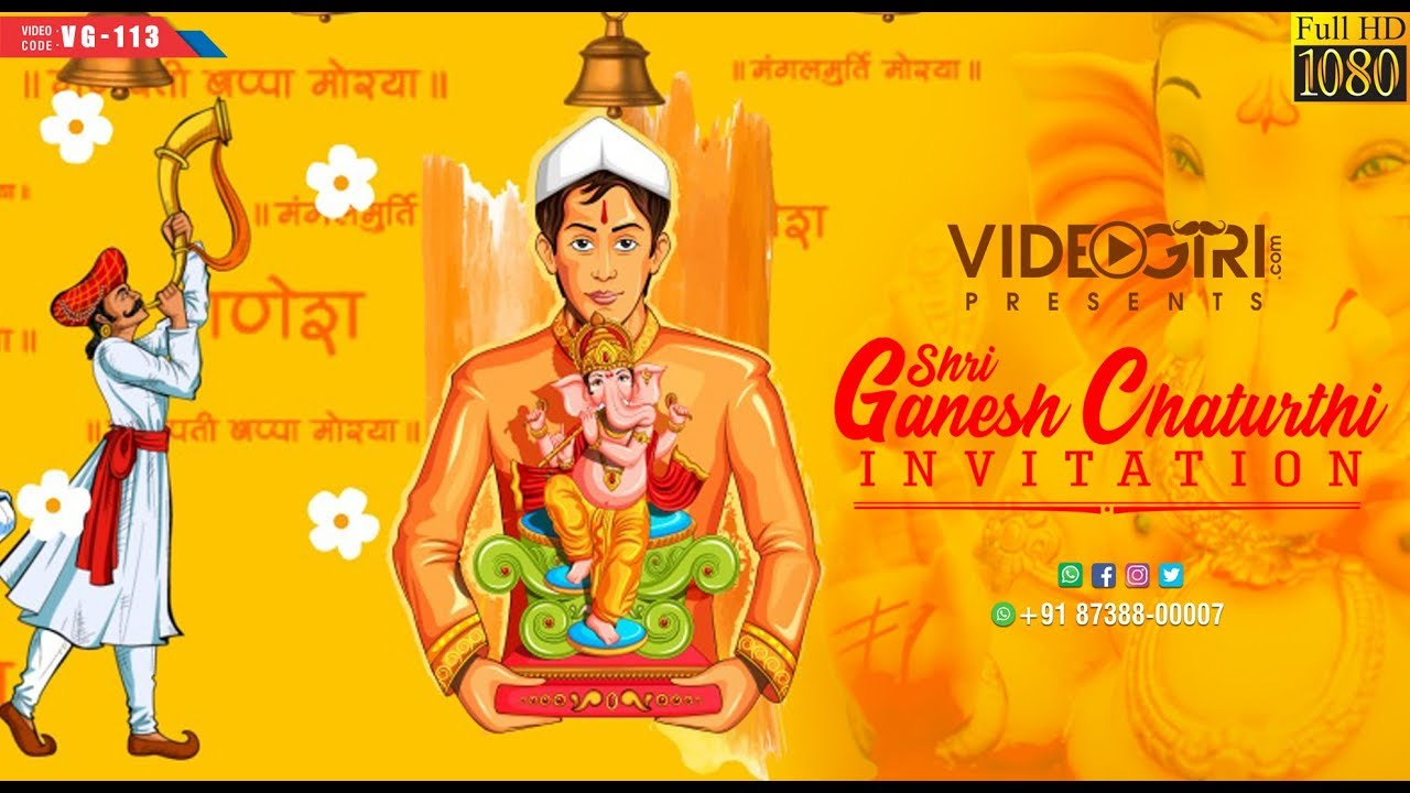 Ganesh Chaturthi Invitation Video For Whatsapp Vg 113