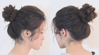 簡單柔美花瓣丸子頭 Easy Romantic Flower Bun Hairstyle