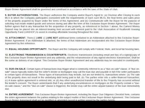 Buyer Broker Agreement Utah Youtube