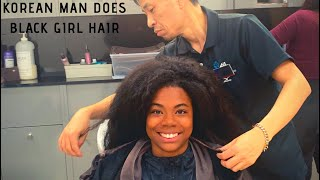 BLACK GIRL GETS NATURAL HAIR DONE IN SOUTH KOREA 🇰🇷🇰🇷🇰🇷 (shocking results)
