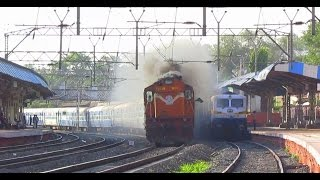Indian Railways ruthless overtake:Thumping Alco overtakes EMD at MPS