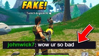 I pretended to be a FAKE DEFAULT TWITCH STREAMER while streaming.. (Fortnite Battle Royale)