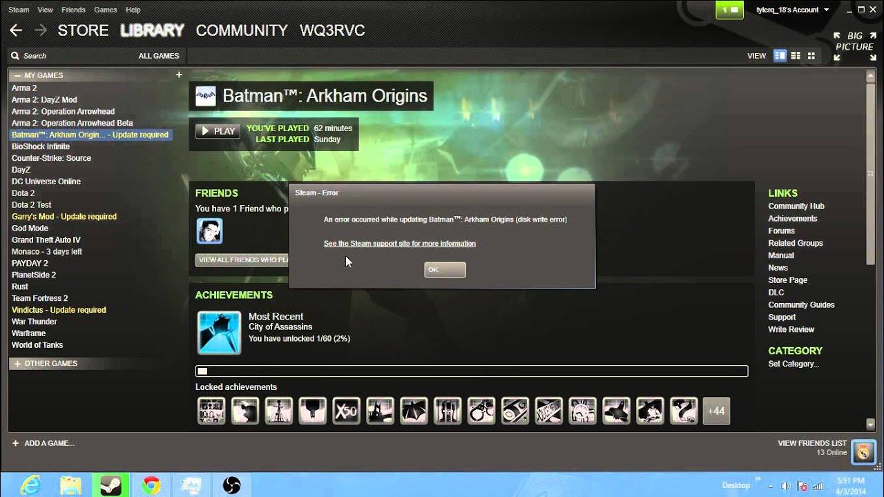 Steam (disk write error)...HELP - YouTube