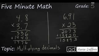 5th Grade Math Multiplying Decimals