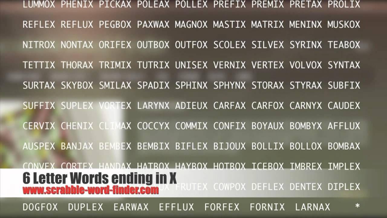 6 letter words ending in X   YouTube