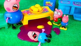 Свинка Пеппа и Паппа Свин спасают Джерджа от инопланитянина  лизуна мультик для детей