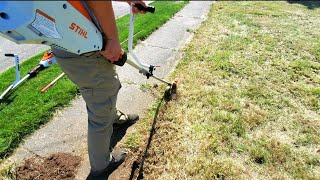Cutting Overgrown Lawn Edġes With A Battery Edger | Before & After [Unbelievably Satisfying]
