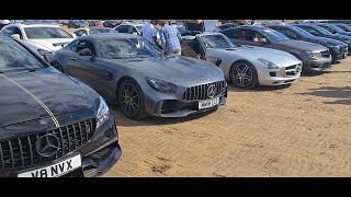 SLS AMG and AMG GT R RACE to the BEACH with OVER 100 AMGS!