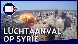 Nieuwe beelden van bombardement op Syrische stad Ariha