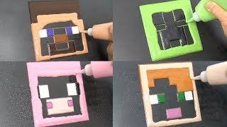 Minecraft Pancake Art - Steve, Creeper, Pig, Alex