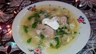 Куриный суп с грибами и яйцом )))