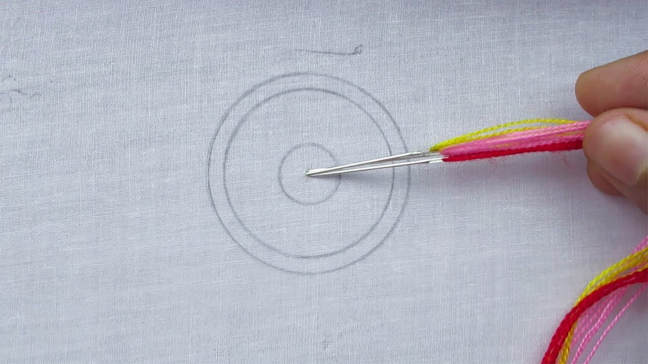 Amazing Hand Embroidery, Easy Circle Embroidery Tutorial, Round Flower Embroidery Design