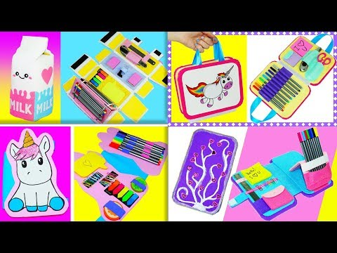 4 DIY Crafts   How to make pencil case + organizer   DIY Organizer + pencil case