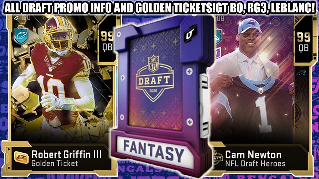 ALL DRAFT PROMO INFO AND ALL GOLDEN TICKETS REVEALED! 99 CAM NEWTON! GT RG3, BO, CREVON!   MADDEN 20