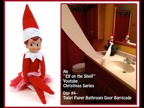 Elf on the shelf christmas series toilet paper bathroom for Elf on the shelf bathroom ideas