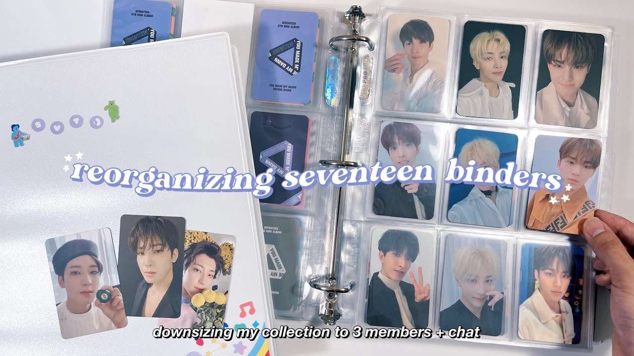 reorganizing my seventeen photocard binders & chat ✰ downsizing my collection + storing new cards !