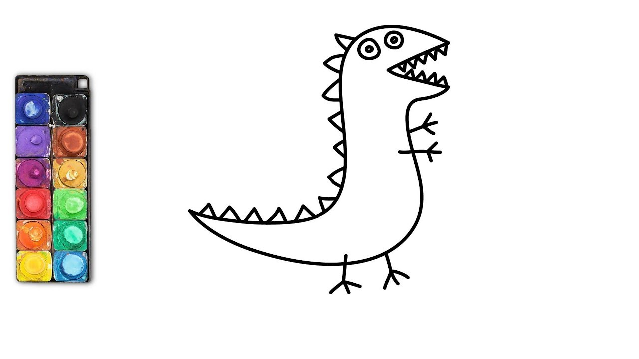 How To Draw George Pig's Dinosaur | Draw and coloring for ...