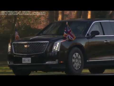 US President Donald Trump limousine, motorcade and aircraft and Secret Service. Discipline!