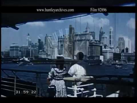 Superb film of arrival of liner Queen Elizabeth in New York.  Archive film  92896