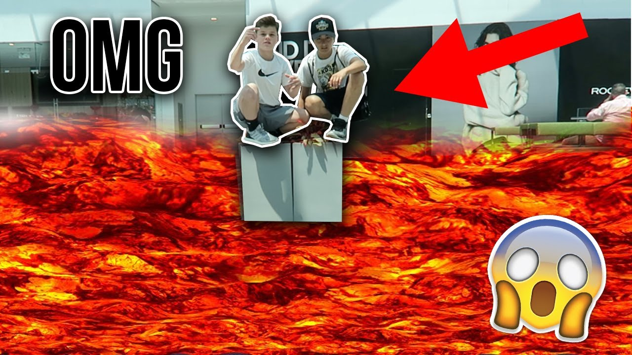 Floor is lava challenge at the mall youtube for Lava parquet