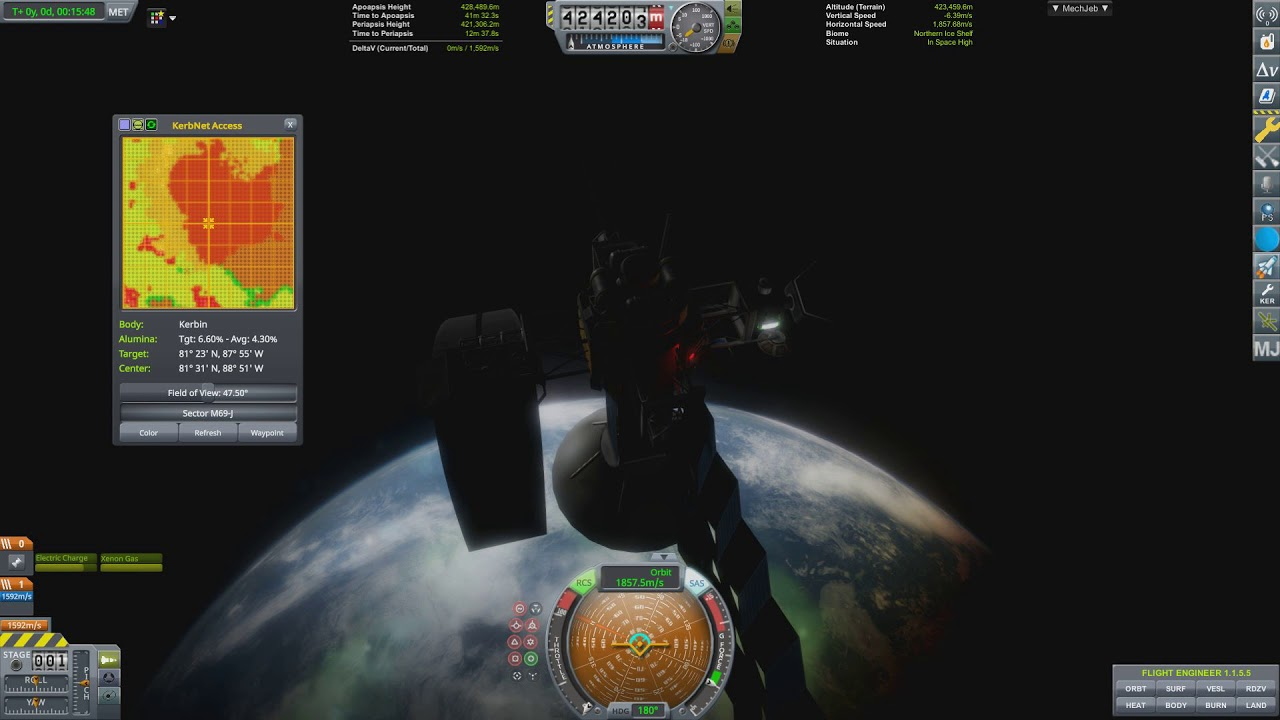KSP 1 6 with older visual mods  425km, 90° Polar Orbit with Mechjeb