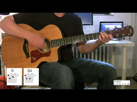 """Yellow"" Acoustic Guitar, original vocal track, chord diagrams, How to, Coldplay"