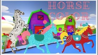 Learn Colors With Riding Horse video 3D Nursery Rhymes for Kids Toddlers Children Babies Education.