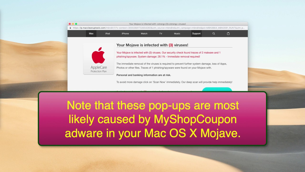 'Your Mojave is infected with (3) viruses' scam removal (Mac)